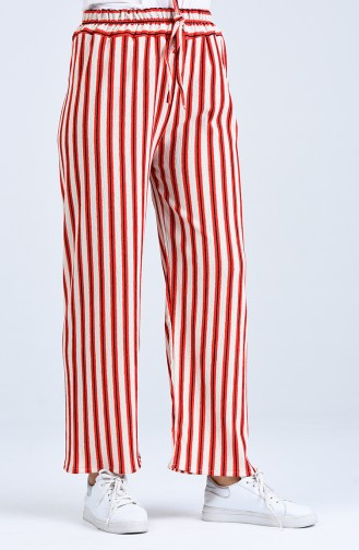 Çizgili Bol Paça Pantolon 5296B-01 Kırmızı
