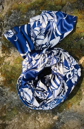 Châle Satin a Motifs 54209-01 Bleu Marine 54209-01