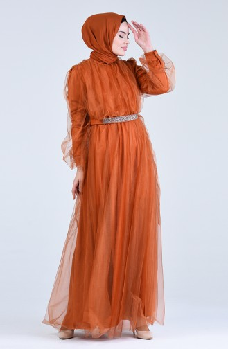 Habillé Hijab Couleur brique 1018-02