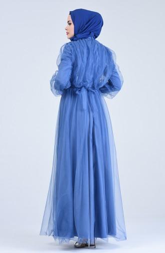 Belted Tulle Evening Dress 1018-05 Indigo 1018-05