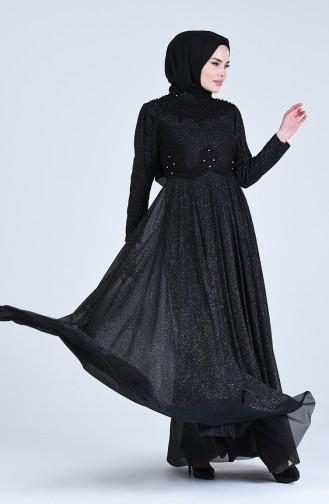 Simli Abiye Elbise 1551-01 Siyah