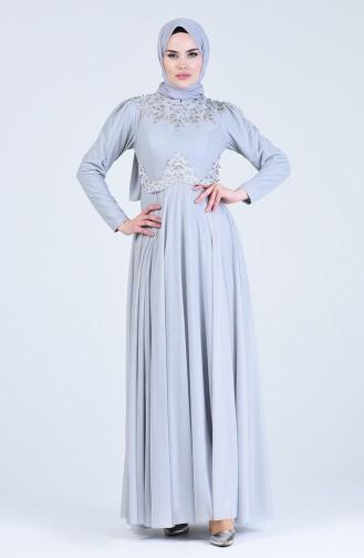 Grau Hijab-Abendkleider 1551-04