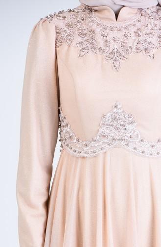 Beige Hijab-Abendkleider 1551-06