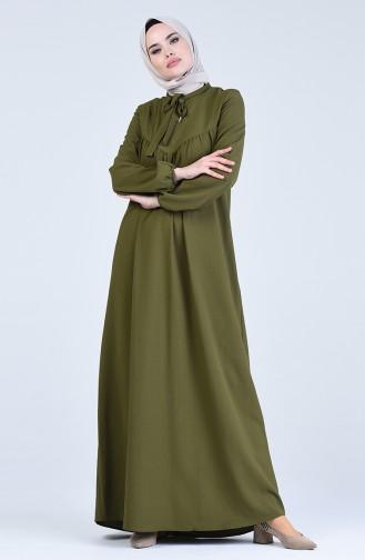 Fiyonklu Elbise 1384-07 Haki