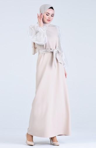 Tüll Kleid mit Band  60119-01 Beige 60119-01