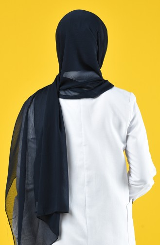 شال شيفون سادة بتصميم سادة  لون كحلي 26069-01
