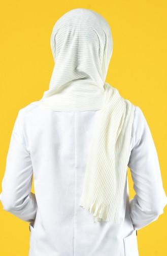 Praktischer Schal aus naturliche Baumwolle mit Maskengeschenk 7015-11 Creme 7015-11