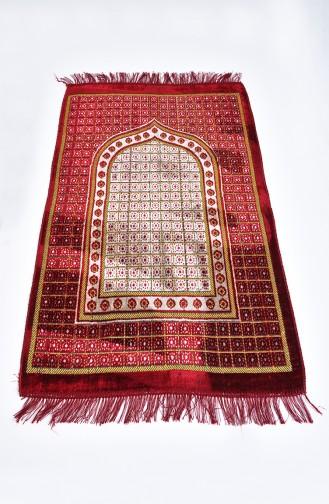 Patterned Velvet Prayer Rug 901618-01 Claret Red 901618-01