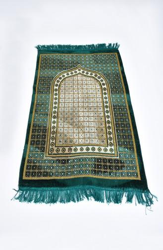 Patterned Velvet Prayer Rug 901618-03 Emerald Green 901618-03