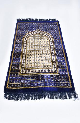 Patterned Velvet Prayer Rug 901618-04 Navy Blue 901618-04
