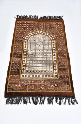 Desenli Kadife Seccade 901618-05 Kahverengi