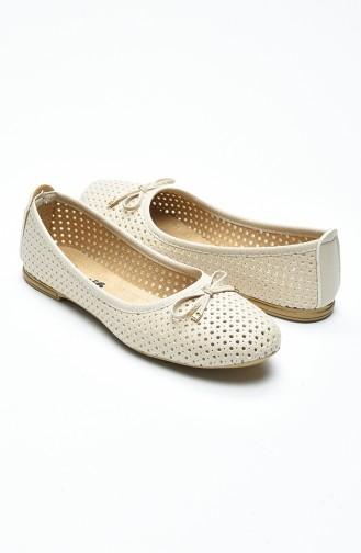Cream Woman Flat Shoe 96502-2