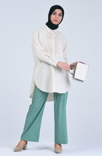 Pantalon Double Ourlet  5297-07 Vert Noisette 5297-07