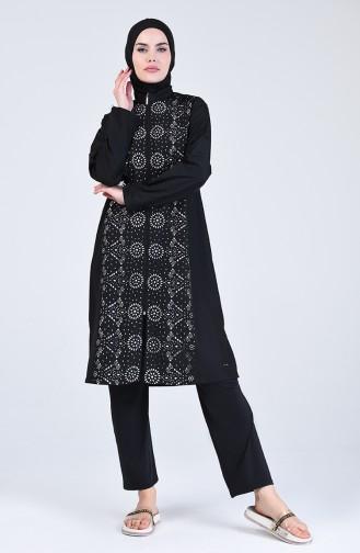 Schwarz Hijab Badeanzug 20150-01
