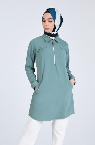Gömlek Yaka Fermuarlı Tunik 20101-03 Çağla Yeşili