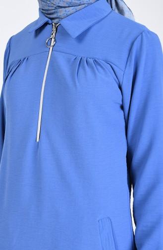 Gömlek Yaka Fermuarlı Tunik 20101-05 İndigo