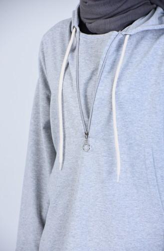 Kapüşonlu Fermuarlı Sweatshirt 3152-03 Gri