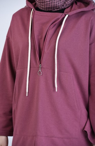 Kapüşonlu Fermuarlı Sweatshirt 3152-01 Gül Kurusu