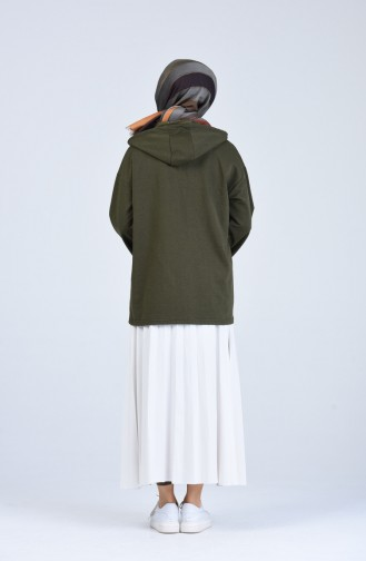 Kapüşonlu Fermuarlı Sweatshirt 3152-09 Haki