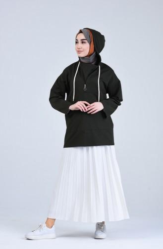 Kapüşonlu Fermuarlı Sweatshirt 3152-04 Koyu Haki