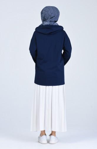 Kapüşonlu Fermuarlı Sweatshirt 3152-06 Lacivert