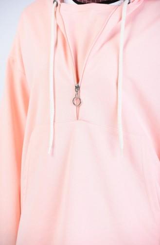 Kapüşonlu Fermuarlı Sweatshirt 3152-05 Pudra