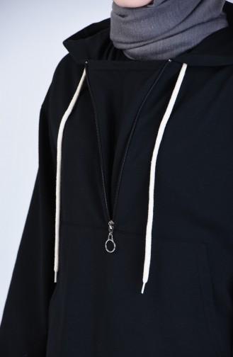 Kapüşonlu Fermuarlı Sweatshirt 3152-10 Siyah