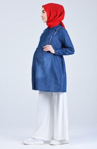 Hemdkragen Schwanger Jeans Tunika 8619-01 Jeans Blau 8619-01