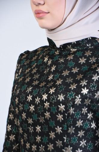 Kuplu Jakarlı Elbise 7274-03 Zümrüt Yeşili