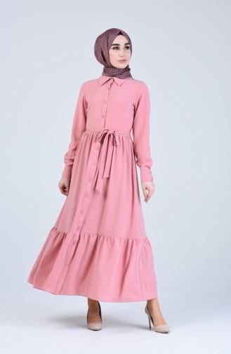 Boydan Düğmeli Kuşaklı Elbise 0912-03 Gül Kurusu