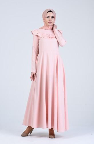 Fırfır Detaylı Elbise 7269-01 Pudra