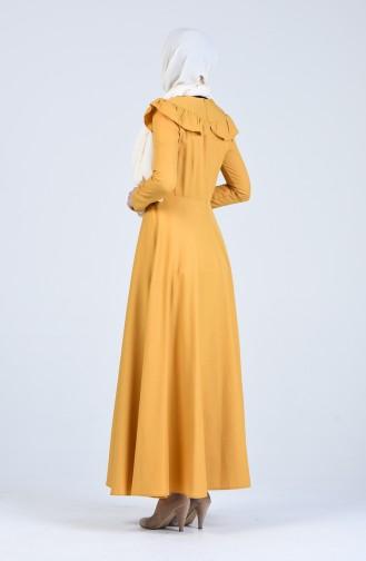 Fırfır Detaylı Elbise 7269-04 Sarı