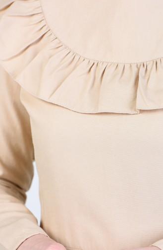 Fırfır Detaylı Elbise 7269-09 Bej
