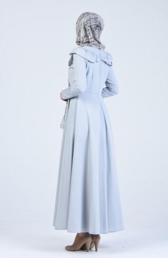 Fırfır Detaylı Elbise 7269-10 Gri