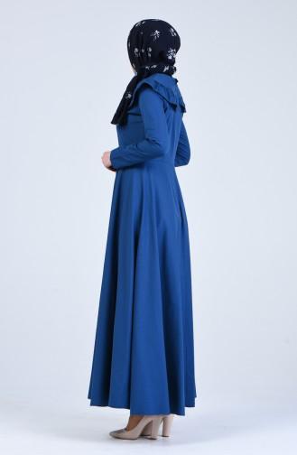 Fırfır Detaylı Elbise 7269-13 İndigo