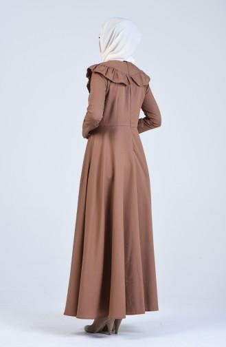 Fırfır Detaylı Elbise 7269-14 Camel
