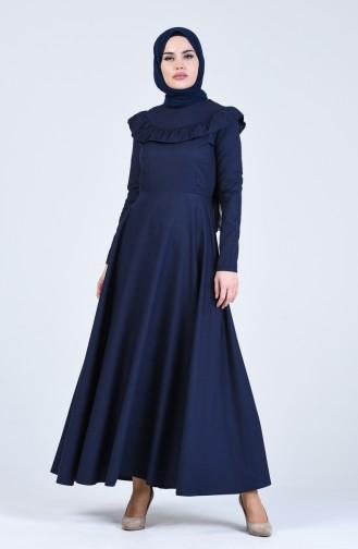 Fırfır Detaylı Elbise 7269-15 Lacivert