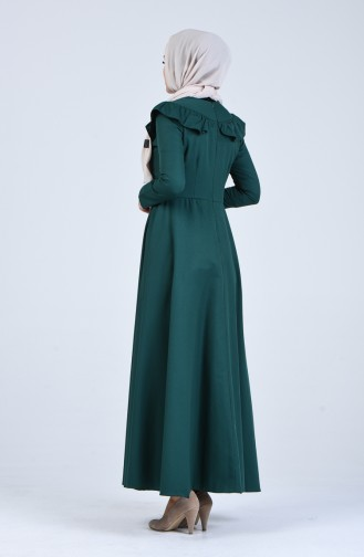 Fırfır Detaylı Elbise 7269-17 Zümrüt Yeşili