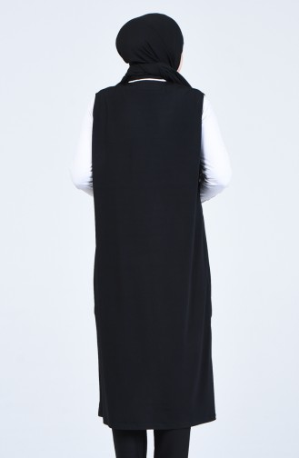Taş Baskılı Yelek 7023-03 Siyah