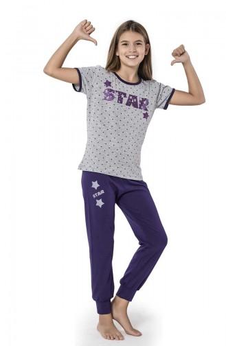 Kız Çocuk Pijama Takım 2669 Gri Mor