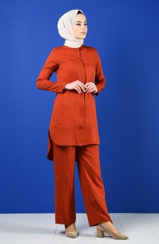 Tunik Pantolon İkili Takım 9036-10 Kiremit