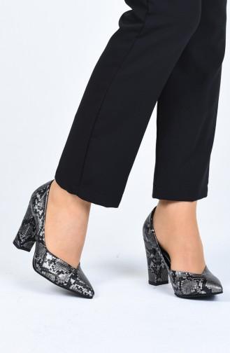 Bayan Topuklu Ayakkabı 0121-11 Platin Yılan