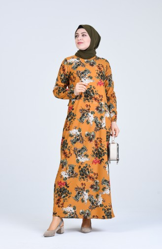 Büyük Beden Çiçek Desenli Elbise 8869-02 Hardal