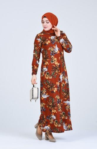فستان قرميدي 8869-04