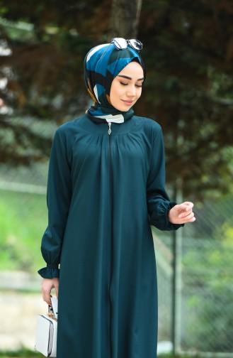 Abaya a Fermeture 2140-02 Vert emeraude 2140-02