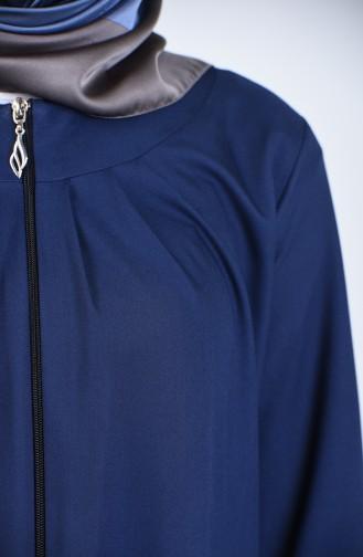 Abaya a Fermeture 2140-05 Bleu Marine 2140-05