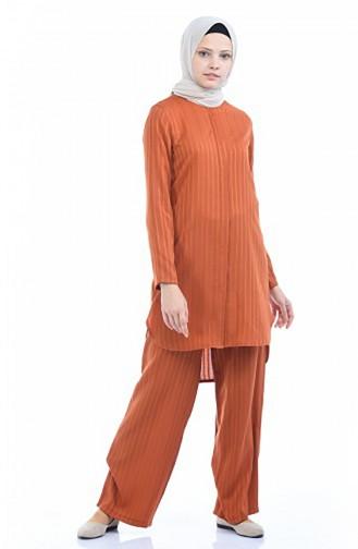 Tunik Pantolon İkili Takım 9036-02 Açık Kiremit