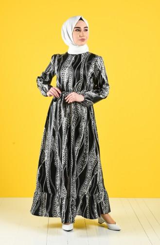 Zincir Desenli Kuşaklı Elbise 2123-01 Siyah Gri
