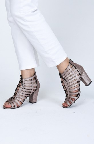 Bayan Bağcık Detaylı Topuklu Ayakkabı 0073-10 Rose Sim