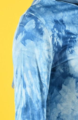Asimetrik Batik Viskon Tunik 5046-02 Mavi